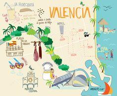 Valencia Map par Mary Birdy Espagne Valence