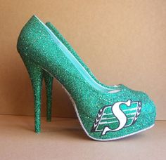 Saskatchewan Roughrider High Heels by TattooedMary on Etsy Go Rider, Saskatchewan Roughriders, Best Football Team, Custom Shoes, Womens High Heels, Just In Case, Me Too Shoes, Stiletto Heels, To My Daughter