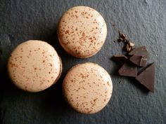 Chocolate Macarons. Made with freerange eggs. Naturally coloured. Fairtrade chocolate.