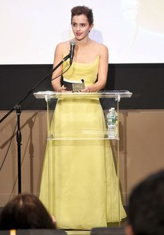 Emma Watson in a yellow Dior dress at a Beauty and the Beast event