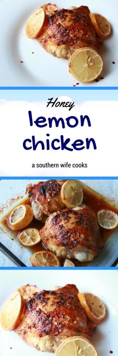Delicious and easy honey lemon chicken recipe! Lemon Chicken Thighs, Honey Lemon Chicken, Bone In Chicken Recipes, Snack Recipes, Cooking Recipes, Main Meals, Healthy Snacks, Main Dishes, Breakfast