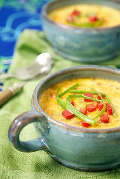 Zucchini Green Onion Custards: This creamy dish combines sweet bell pepper with smoky Gouda and zucchini. Try experimenting with different veggies for new takes on this savory custard as the seasons change. #MeatlessMonday