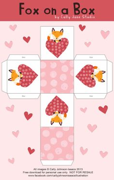 FREE printable gift box with fox and Valentine's heart / We Love to Illustrate: