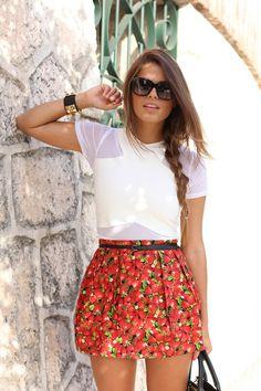 Seams For A Desire: Strawberries  #Choies #Top #Mekdes #Skirt #MichaelKors #Tote #Earrings
