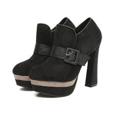Black Suede Chunky Heel Ankle Boots Shoes$50.00 ($50) ❤ liked on Polyvore