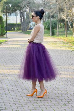 Purple tulle skirt with orange shoes