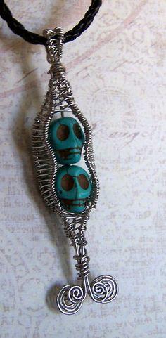 Day of the Dead necklace  Pea Pod pendant  UNIQUE  by mandalarain, $80.00