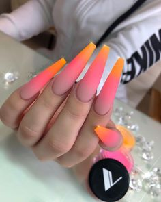"""иαιℓѕ ву ℓιѕα 💎 on Instagram: """"G O O D . L U C K Everyone who's entering the Valentino Ombré Battle, Love seeing ppl recreate my Triple Ombré look 🧡💖 Matte and Shiny .…"""" Acrylic Nail Designs Coffin, Bling Acrylic Nails, Best Acrylic Nails, Diy Nails, Swag Nails, Cute Nails, Pretty Nails, Bright Summer Acrylic Nails, Summer Nails"""