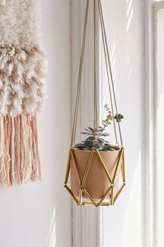 Shop Ella Metal Macrame Hanging Planter at Urban Outfitters today. We carry all the latest styles, colors and brands for you to choose from right here. Diy Interior, Interior Design, Interior Decorating, Macrame Hanging Planter, Hanging Planters, Brass Planter, Wall Planters, Christ Schmuck, Urban Outfitters