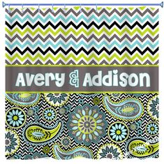 chevron and paisley monogrammed shower curtain chevron shower curtain paisley curtain aqua and lime sibling curtain