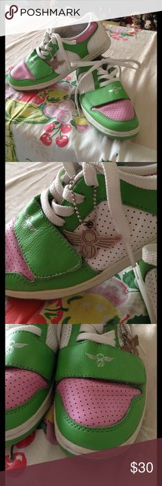 💞💚SUPER CUTE SNEAKERS💚💞 Very Preppy...like Lily Pulitzer, Vineyard Vines, Izod, etc.! Great pair of Sneakers in Pink, Green, and White. Super Comfy! Lace up with a Wide Velcro Adjustable Strap across top of foot for comfort! Only worn a handful of times! Metal Logo Keychain. Creative Recreation Brand Size 8 Creative Recreation Shoes