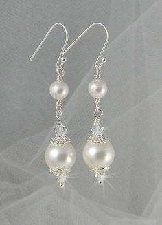 Bridal Earrings, Pearl wedding earrings, Wedding jewelry, Swarovski Pearls, Swarovski Crystals, Abigail Earrings $22.00 #weddingjewelry