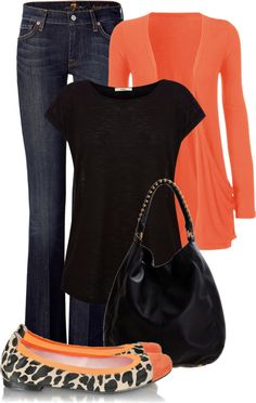 """""""Orange and Black"""" by maizie2020 on Polyvore I have that cardigan in black n love it!!"""
