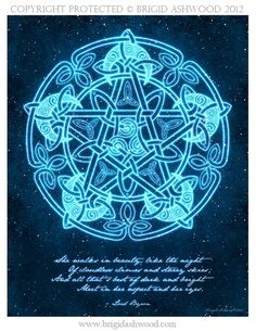 Celtic Moon Pentacle with Poem Pagan Wiccan Print by BrightArrow