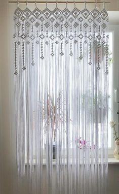 Macrame Window Curtain/ Macrame Door Curtain/ Wedding Backdrop/ White Cotton woven Curtain/ Boho Window Decoration/ Macrame Room Divider - New Deko Sites String Curtains, Macrame Curtain, Beaded Curtains, Door Curtains, Curtain Door, Macrame Design, Macrame Art, Macrame Knots, Above Bed Decor