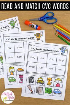 Kindergarten Lessons, Homeschool Kindergarten, Preschool Learning Activities, Short Vowel Activities, Word Family Activities, Teaching Resources, Phonics Reading, Teaching Reading, Word Reading