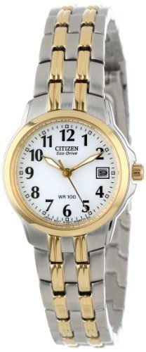 """Citizen Women's EW1544-53A Eco-Drive """"Silhouette"""" Two-Tone Stainless Steel Watch.  Simple and classic, yet featuring precision-quality movement, the Citizen Women's Eco Drive Two-Tone Watch offers minimalist style and high functionality for everyday wear.   #watches #women #beautiful"""