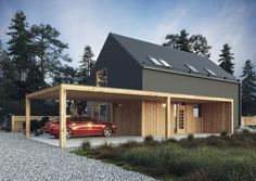 Carport off house? Modern Barn House, Modern House Design, Residential Architecture, Modern Architecture, Carport Designs, Shed Homes, Dream House Exterior, House In The Woods, Home Fashion