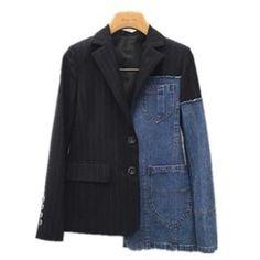 patchwork blazer women denim lapel collar plus size asymmetrical coat female spring fashion clothing Cute Blazers, Blazers For Women, Coats For Women, Women Blazer, Denim Suit, Denim Blazer, Blazer Jacket, Mode Mantel, Asymmetrical Coat