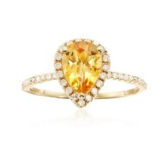 C. 2000 Vintage .80 Carat Citrine and .25 ct. t.w. Diamond Ring in 14kt Yellow Gold. Size 6 @juliarcase For Christmas?!