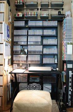 Organization: Die Storage 2014 and Giveaway Craft Organisation, Storage Organization, Storage Ideas, Organizing, Craft Paper Storage, Stamp Storage, Basement Bar Designs, Basement Ideas, Scrapbook Storage