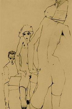 Egon Schiele's use of line is raw.  It feels like he pushes his drawing utensil rather than pulling it.