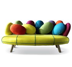 Loving this fun and colourful 1970s style sofa from the Italian furniture company Adrenalina. Over 600 fabrics to choose from. You can find them at : http://www.myitalianliving.com/