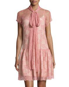 RED Valentino Tie-Neck Lace Dress, Petal