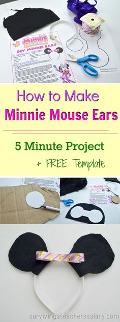 How to Make Your Own Disney Minnie Mouse Ears – Bow Be Mine This simple DIY tutorial will how you how to make Disney Minnie Mouse ears headbands in 5 minutes! Quick and fast craft, this is perfect for kids going to Disney World or Mickey Mouse Kostüm, Mickey Mouse Ears Headband, Mickey Ears, Minnie Bow, Diy Disney Ears, Disney Diy, Disney Crafts, Disney Travel, Disney Magic