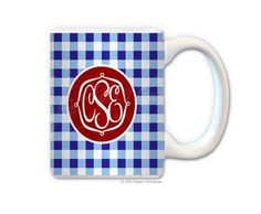 Baby Blue/Royal Gingham Coffee Mug from Paper Concierge