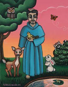 St. Francis Animal Saint Painting by Victoria De Almeida