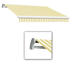 AWNTECH 10 ft. Maui-LX Left Motor Retractable Acrylic Awning with Remote (96 in. Projection) in Yellow/White