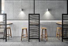 Sable Drop Cafe – Monash Caulfield: A Flexible Café Space with Colored Green Band and Neutral Interior Australian Interior Design, Interior Design Awards, Restaurant Interior Design, Modern Interior Design, Interior Office, Deco Restaurant, Modern Restaurant, Pub Decor, Home Decor