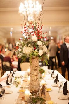 Wedding winter centerpieces woods Ideas for 2019 Red Wedding Centerpieces, Birch Centerpieces, Winter Centerpieces, Winter Wedding Decorations, Centerpiece Ideas, Wedding Vases, Centerpiece Flowers, Winter Weddings, Woodland Theme Wedding