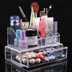 Acrylic Cosmetic Jewelry Organizer Drawer Makeup Case Storage Holder Box