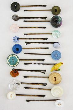 Turn ordinary bobby pins into pretty hair accessories by sewing on (and securing with glue) some decorative buttons. Source: A Homemaker's Journal