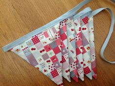 Handmade bunting in retro blue and red fabric
