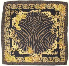 Versace Navy & Gold Leopard Print Silk Scarf  | eBay