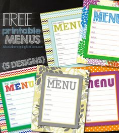 Free printable menus | Five designs to choose from | Easy & instant downloads