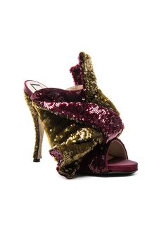 No. 21 Sequin Embellished Bow Mules in Bordeaux & Gold | FWRD