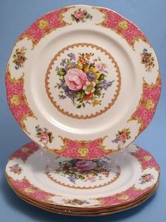 4 Royal Albert Bone China Lady Carlyle Dinner Plates England Pink Roses Label | eBay