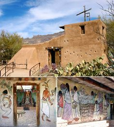 """DeGrazia built the Mission in the Sun in honor of Our Lady of Guadalupe calling the mission his most durable and important piece of art. """"The mission will have no functional purpose. It will be a place of beauty where I can go and hide."""" Happy Throwback Thursday! #DeGrazia #Artist #Ettore #Ted #GalleryInTheSun #ArtGallery #Gallery #NationalHistoricDistrict #Foundation #Nonprofit #Adobe #Architecture #Tucson #Arizona #AZ #Catalinas #Desert #MissionInTheSun #Mission #Murals #Guadalupe…"""