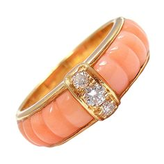 VAN CLEEF & ARPELS Diamond Blush Coral Yellow Gold Ring | From a unique collection of vintage cluster rings. (France, 1990's)