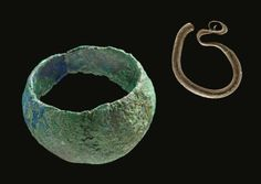 Finds from a young woman's grave from Teutschenthal, Germany. A temple ring and a finger ring. Culture: Slavic (West Slavs) Timeline: 9th/10th century [source]