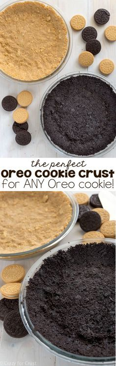 Oreo Cookie Crust An EASY no-bake Oreo Cookie Crust recipe that works with any flavor Oreo cookie!An EASY no-bake Oreo Cookie Crust recipe that works with any flavor Oreo cookie! No Bake Desserts, Just Desserts, Dessert Recipes, Pie Recipes, Oreo Desserts, Oreos, Cupcake Cakes, Cupcakes, Cookie Crust