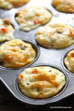 These egg muffins are naturally low carb and easy to make ahead of time.  We prepare them with our favorite toppings (often using leftovers) and once baked, we store them in the fridge for an easy make-ahead breakfast.  In the morning, we just microwave until warm and enjoy!