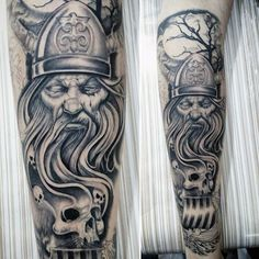 Odin Skulls Mens Leg Tattoos