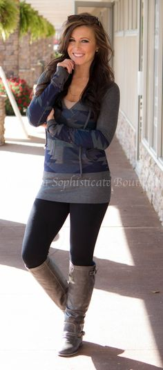 Blue Aztec Hooded Sweater / Southern Sophisticate Boutique