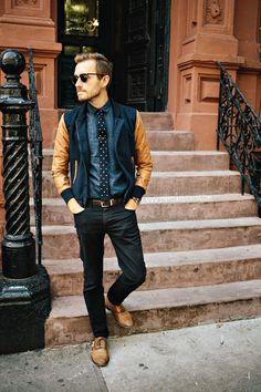 September 6 , 2013. Jacket: Varsity Jacket Shop - $78Shirt: Frank Oak - $35 (similar)Tie: Knit Polkas - The Tie Bar - $15Tie Bar: c/o The Suited Man Pants: American Apparel Slim Slack - $15 (Buffalo Exchange)Shoes: Banana Republic Hyde Oxford - $90 (40% off coupon)Sunglasses: Ray Ban Clubmaster in Tortoise - $89Belt: Lands End Canvas - $12 (similar)Watch: Timex - Amazon - $31
