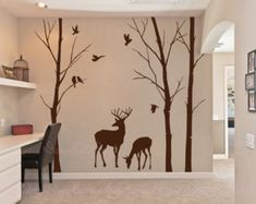 Description: This Beautiful forest with deer wall decals will let you feel in the nature! Our wall decals are ideal for offices, living rooms,